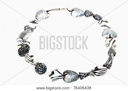 Ornate Necklace With Beads Decorated In Animal Skin Patterns