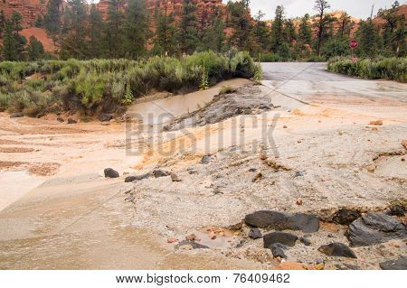 Summer Storm Flash Floods At Red Canyon Utah