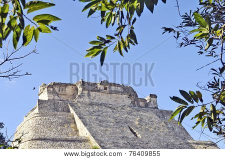 Details of the Maya pyramid of the Magician