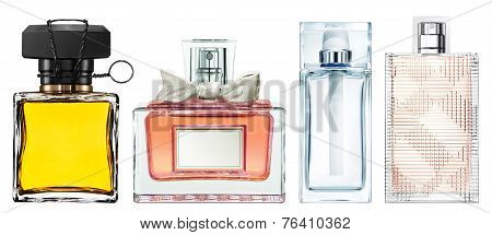 Set Of Luxury Perfume Bottles On White Background