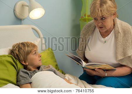 Granny Reading Grandson Book