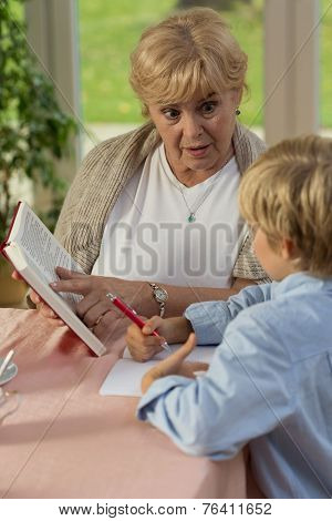 Grandma Teaching His Grandson