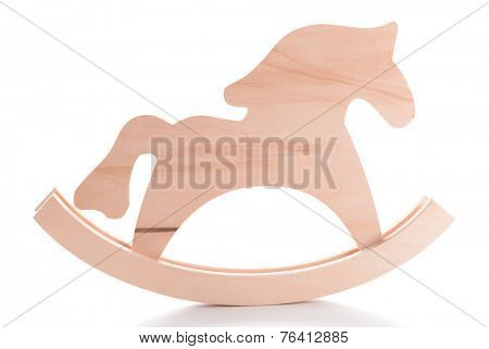 Wooden toy horse for hand made decor, isolated on white