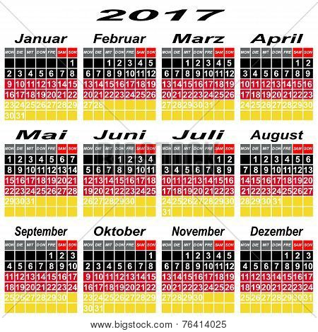 Germany Calendar Of 2017.
