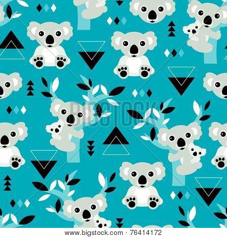 Seamless geometric winter blue koala bear kids illustration background pattern in vector