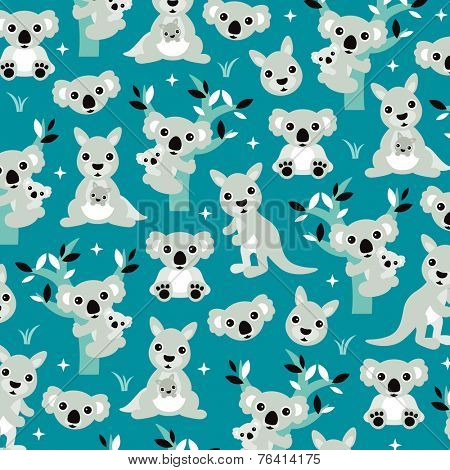 Geometric blue australian kangaroo and koala bear kids illustration background pattern in vector