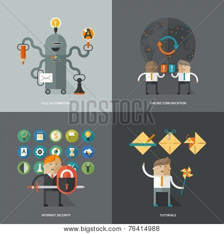 Set of flat design concept images for infographics, business, web, ai, mobile marketing, online comunication, internet securuty, tutorials, education