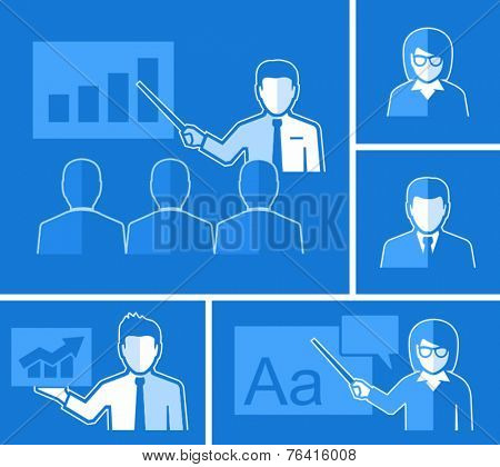 Teaching. Teacher with group students in classroom. Teacher holding a wand. Teacher woman lecturing beside board. Man holding sign.