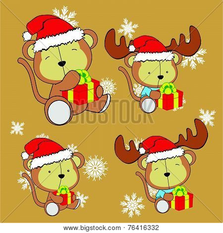 sweet xmas monkey baby cartoon set