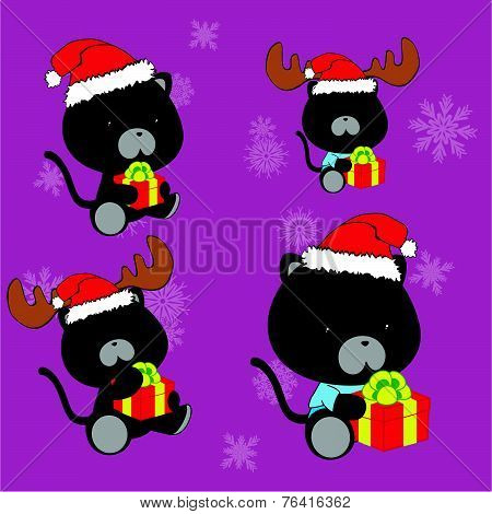 sweet xmas panther baby cartoon set