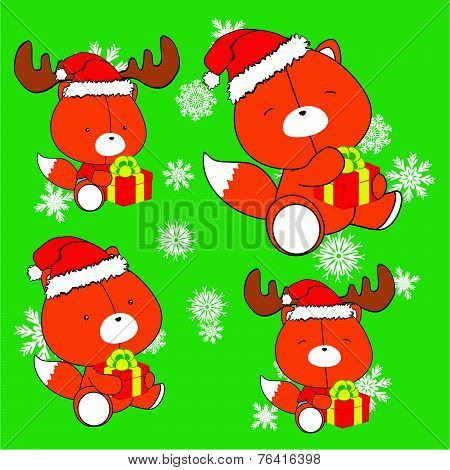 sweet xmas fox baby cartoon set