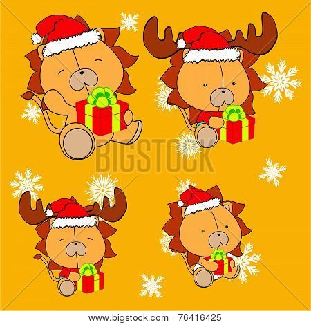 sweet xmas lion baby cartoon set