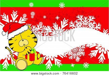 tiger baby cartoon xmas background