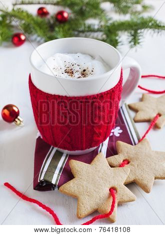 Santa's Milk in cup and gingerbread cookies
