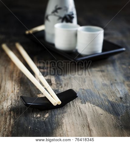 Japanese Style Table Set And Sake