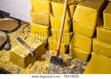 Blocks of beeswax for candle making.