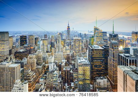 New York City, USA city skyline of midtown Manhattan.