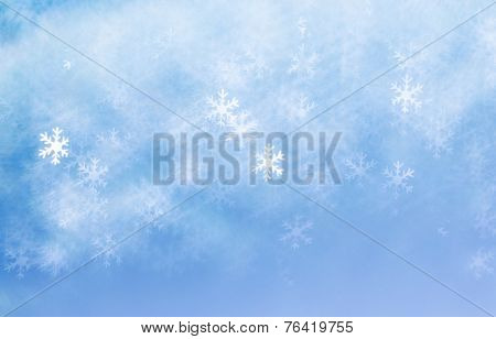 bright snowflakes bokeh, blurred winter christmas background