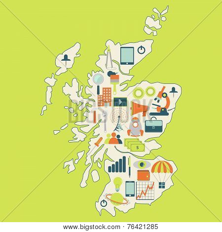 Map Of Scotland With Technology Icons