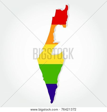 Rainbow Flag In Contour Of Israel