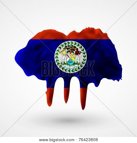 Flag of Belize painted colors