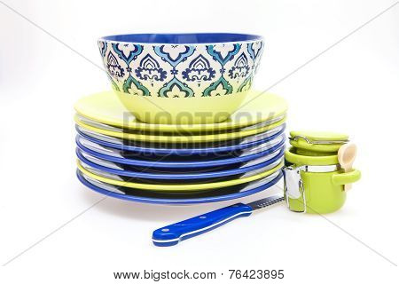 Ceramic kitchen ware of various colors