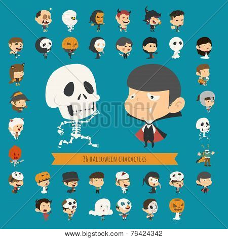 Set Of 40 Halloween Costume Characters