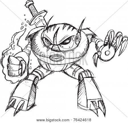 Robot Cyborg Warrior Ninja Vector Sketch Illustration Art