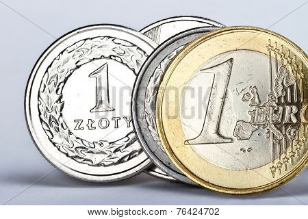 One euro and one zloty coin as an exchange symbol