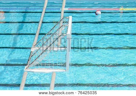 Water Polo Goal And Ball In Swimming Pool