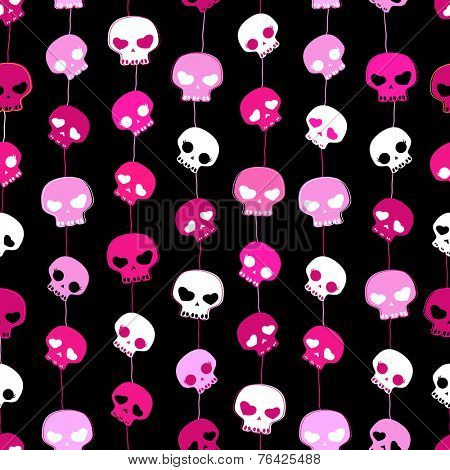 girlish aggressive cute black and pink skulls; seamless pattern with skulls