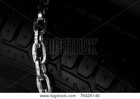 Snow Chains On Tire