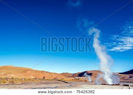 Steam At El Tatio Geysers