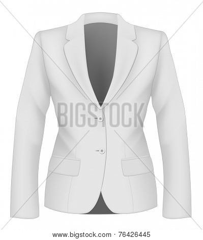 Ladies white suit jacket for business women. Formal work wear. Vector illustration.