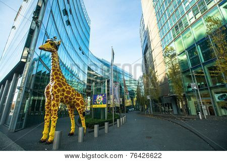 BERLIN, GERMANY - NOV 17, 2014: The Sony Center on Potsdamer Platz. Sony Center located at the Potsdamer Platz is a Sony-sponsored building complex, opened in 2000 year.