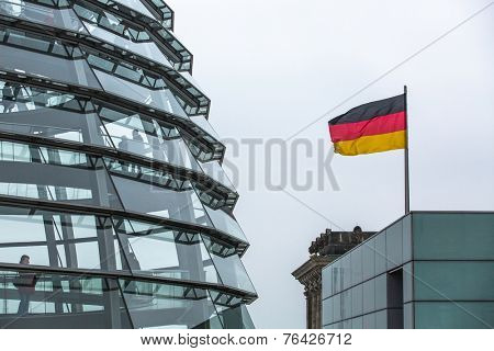 BERLIN, GERMANY - NOV 15, 2014: Modern dome on the roof of the Reichstag. It is a glass dome constructed on top of rebuilt Reichstag - Germany's parliament building.