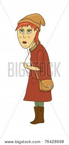 Hipster girl vector illustration