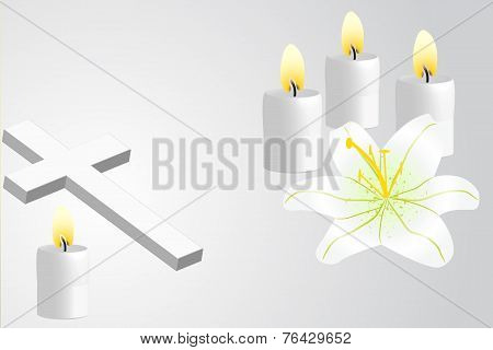 Christian Cross, Lily And Candles