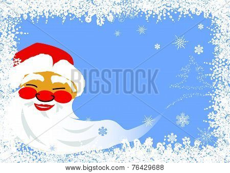 Christmas Background With Santa and Snowflakes
