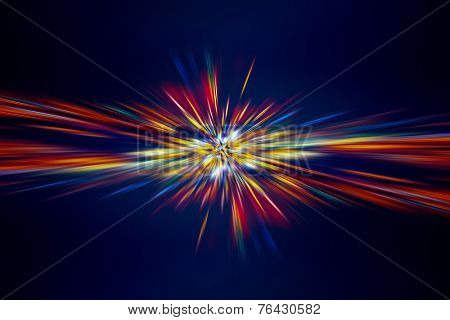 Abstract digital lights background, colorful light rays on dark blue background, festive firework, new year holidays celebration concept