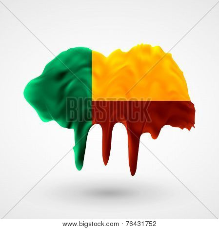 Flag of Benin painted colors