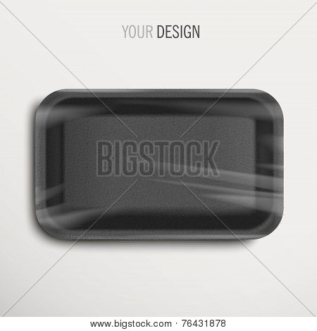 Empty Wrapped Black Food Tray