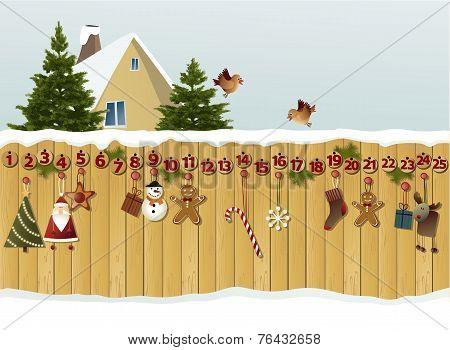 Advent calendar on fence