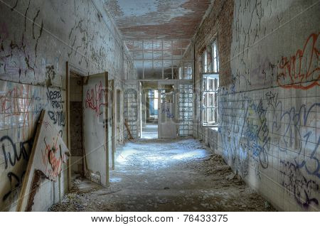 Old Corridor In The Sanatorium At Beelitz