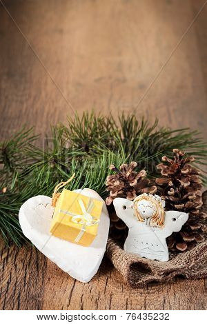 Christmas Gift With Wooden Background