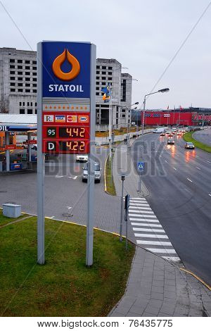 Kaunas, Lithuania, November, 17, 2014: Guide sign, indicated the price of the gas on Statoil's gas station.  Statoil is the prevailing Lithianian brand