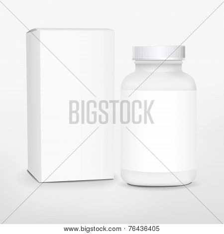 Blank Medicine Bottle And Package