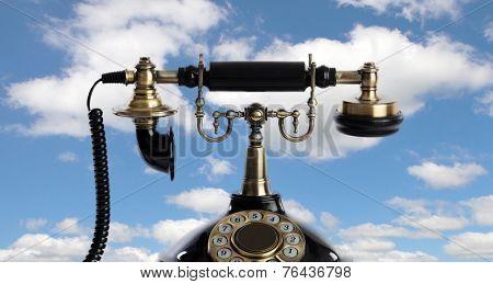 Retro and elegant telephone on the heaven
