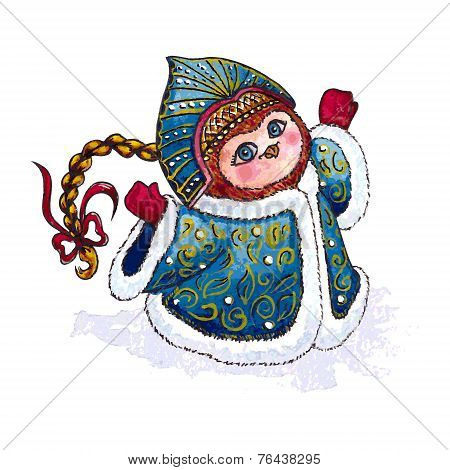 Owl Snow-maiden in coat character Vector Watercolor isolated.