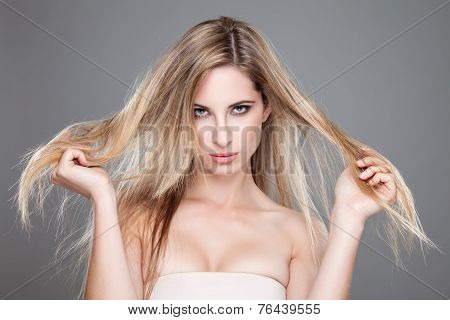 Beautiful Woman With Long Messy Hair